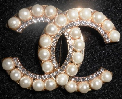 Symbolic vintage Brooch with Coco Chanel logo CC