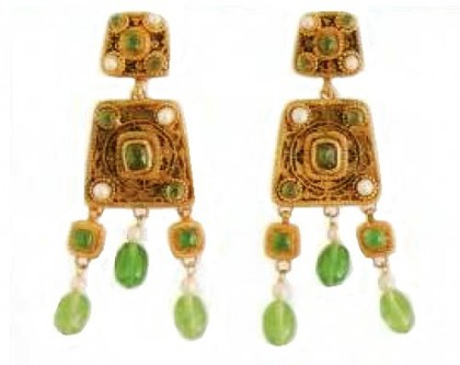 Earrings with pendants. metal, gilding, imitation pearls, cabochons. 1970