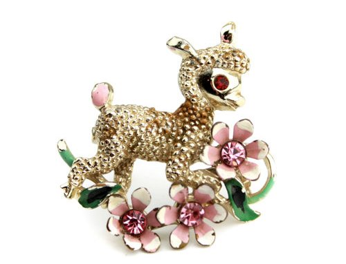 Easter lamb vintage brooch