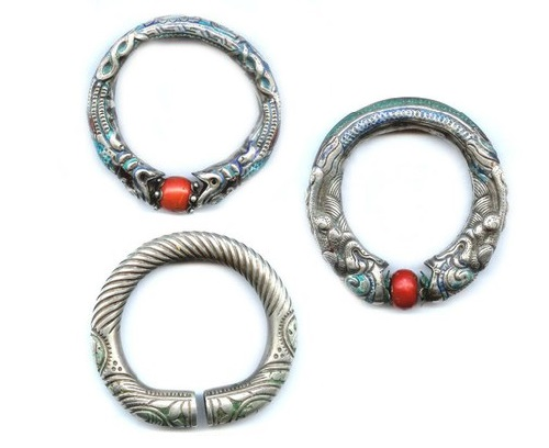 Enameled bracelets with dragon and coral ball motif. Mongolia, late 19th century