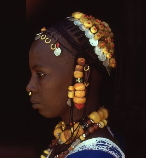 Ethnic amber jewellery of Fulani tribal women