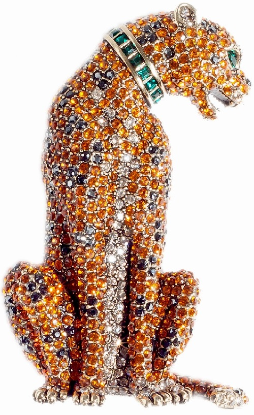 Fierce & Fabulous Crystal Critter Pin. Tanzanite, hematite, emerald, and crystal golden shadow crystals. Heidi Daus jewellery