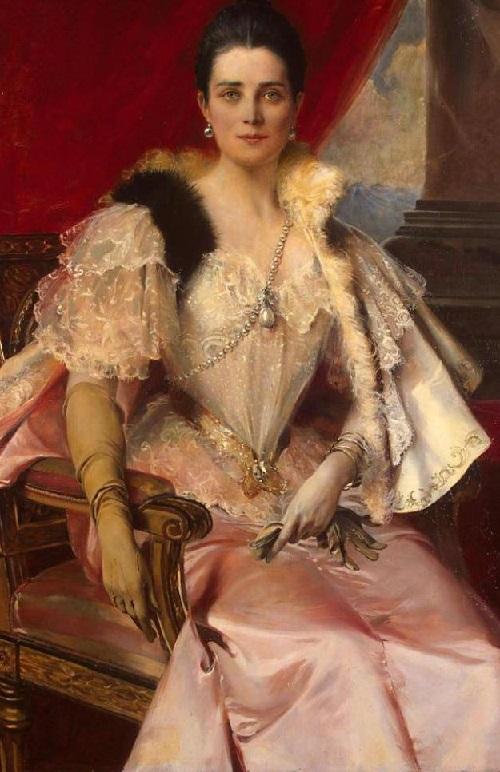 Francois Flameng. Portrait of Zinaida Yusupova in the family pearl 'La Peregrina'