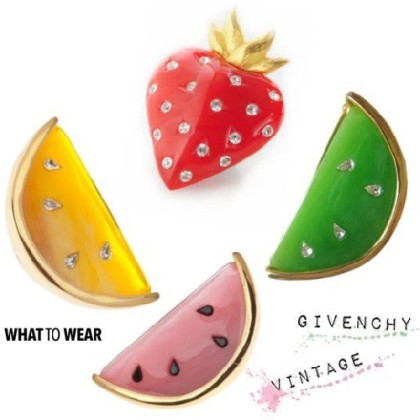 Fruit series of brooches, vintage