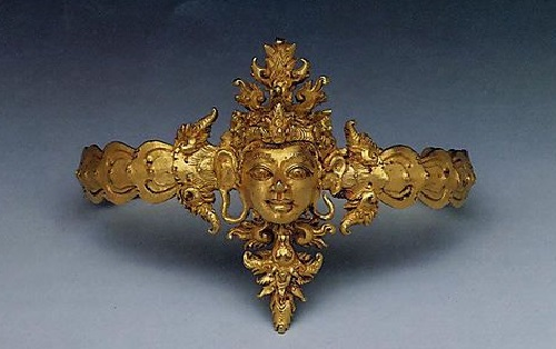 Gold Arm Band with Man's Head. 10th century Indonesia (Java)