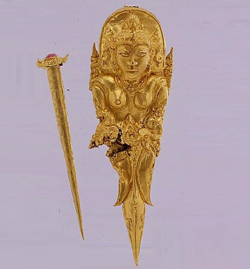 Gold Hair Ornament with Pin. early 10th century. Indonesia (Java)