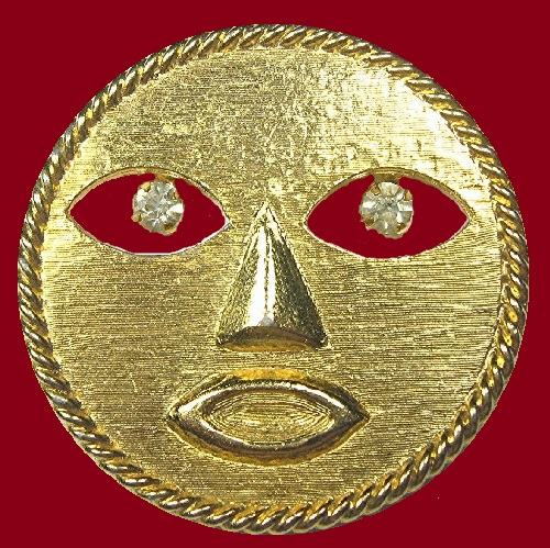Gold tone modernistic brooch Man in the moon, rhinestone eyes, 1960s. Jeanne Vintage Jewellery