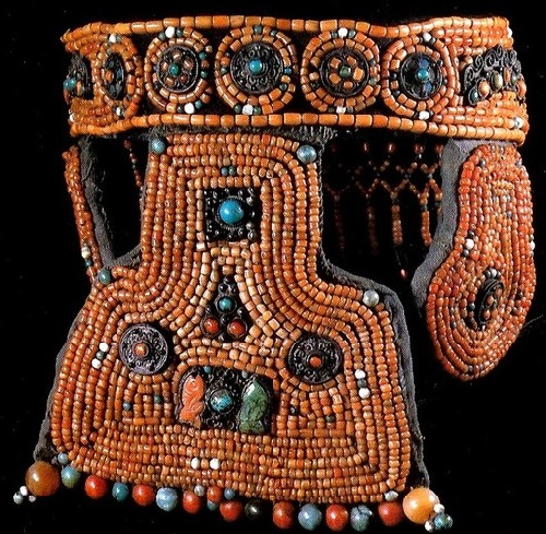 Headdress , coral, turquoise, silver, carnelian and jade beads. Ordos, Mongolia 19th century