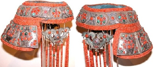 Headdress, rare silver flange style , inlaid turquise and coral. Mongolia, 19th - early 20th century