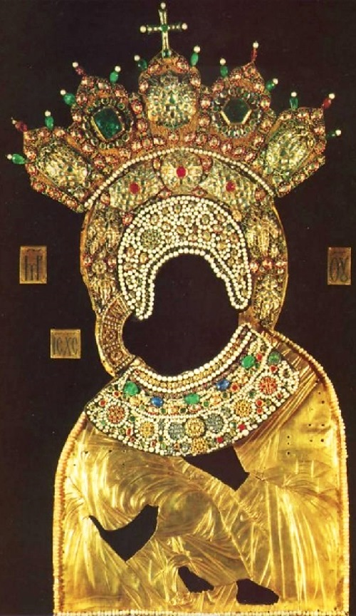 Icon Riza 'Our Lady of Vladimir', 1657. Gold, precious stones, pearls; chasing, filigree, enamel