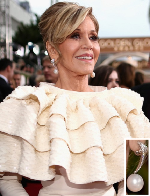 Jane Fonda in Chopard earrings