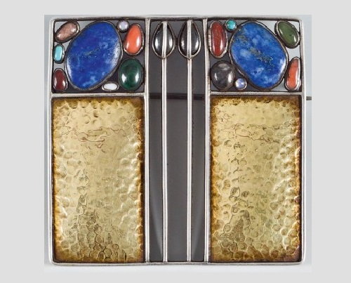 Josef Hoffmann Art Deco brooch 1911. Sterling silver, gilded with semi-precious stones
