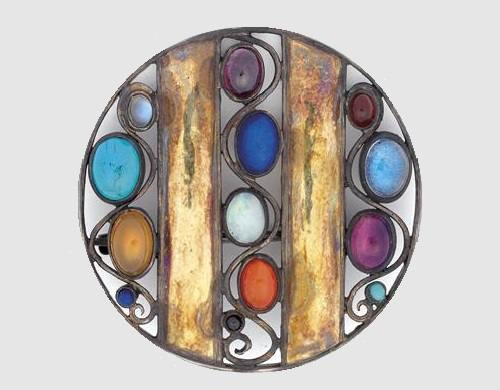 Josef Hoffmann Art Deco brooch designed in 1907, manufactured in Vienna's Workshops. Silver and yellow gold, thirteen gemstones