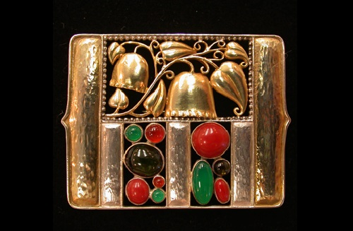 Josef Hoffmann Art Deco brooch. Gold-plated sterling silver with coral and semi-precious stones. 1911