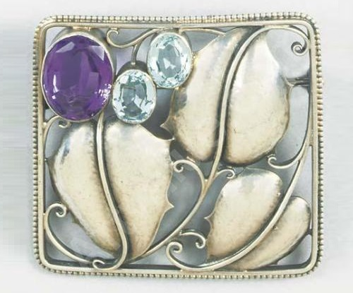 Josef Hoffmann Art Deco brooch. White metal, amethyst and aquamarine 1910
