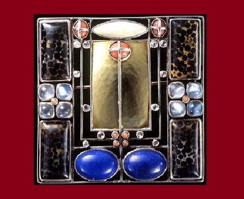 Josef Hoffmann Art Deco brooches. Made by Eugen Pflaumer for Vienna's Workshops. Silver - partly gilt, agate, amethyst, bloodstone, coral, jasper, lapis lazuli, moonstone, opal, tourmaline