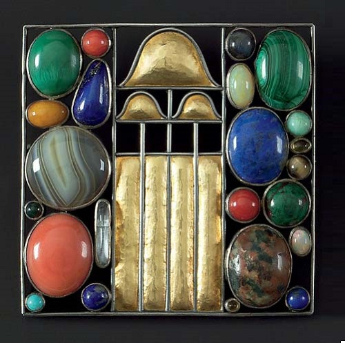 Josef Hoffmann Art Deco brooches. Manufactured in Vienna's Workshops. Silver - partly gilt agate, coral, lapis lazuli, malachite, turquoise and other semi-precious stones, 1907