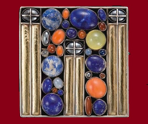 Josef Hoffmann brooches. Designed in 1905 brooch, Made of silver, gold, carnelian, coral, hematite, jelly opal, lapis lazuli, moonstone, sapphire. 1911