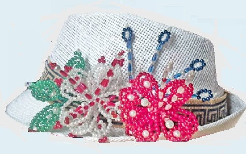 La pollera is also worn together with the traditionally decorated hat
