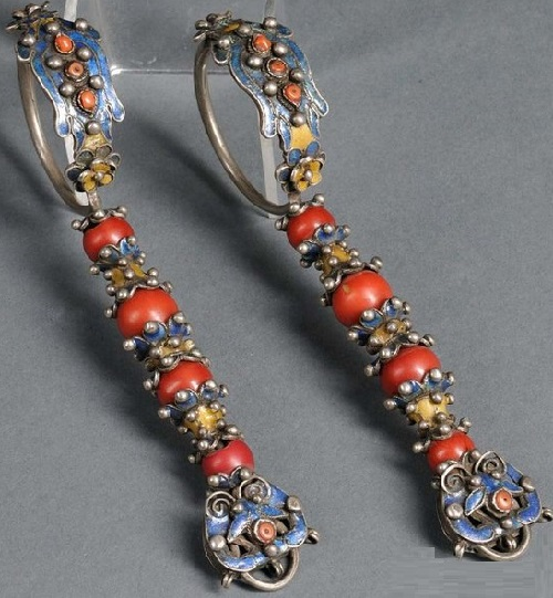 Long silver and enamel earrings from the Jungar Banner, Ordos Mongolia. Late 19th century