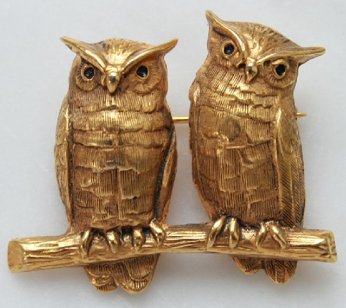 MFA unique jewellery brooch Owls