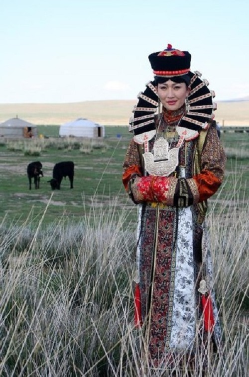 Modern Mongolian woman in ethnic costume