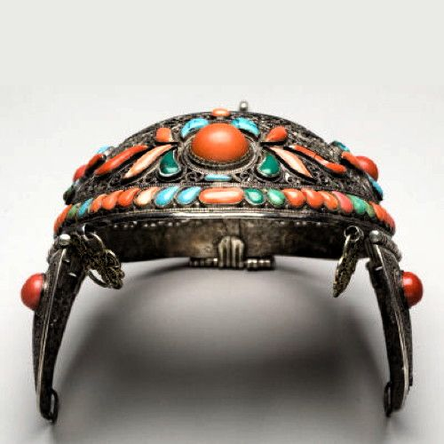 Mongolia Crown; silver, coral and turquoise