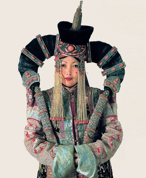 Mongolian woman in 'bird wings' headwear