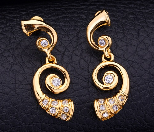 Musical instrument Earrings. French Horn Gold Plated Jewelry With Rhinestone