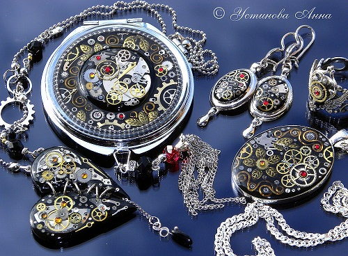 Pendant, necklace, ring, earrings, mirror. Romantic steampunk jewellery by Anna Ustinova