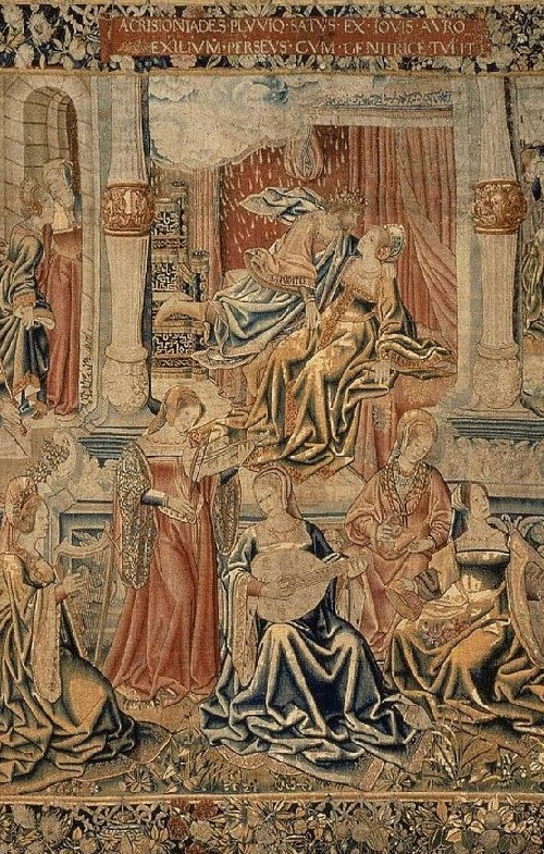 Playing musical instruments medieval ladies - harp, lute, violin. Detail of tapestry