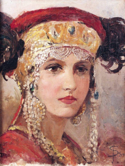 Portrait of a young woman. Russian pearl jewellery