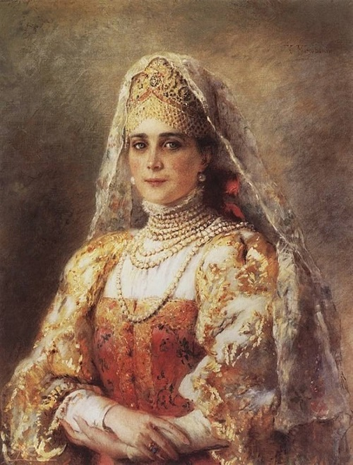 Portrait of princess Zinaida Yusupova in Russian folk costume decorated with pearls. Artist Konstantin Makovsky