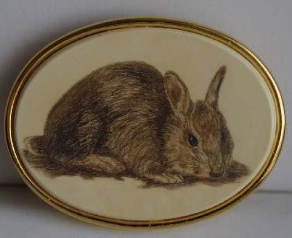 Rabbit brooch MFA (Museum of Fine Arts, Boston). Decoration based on a picture of American artist Isaac Sprague (1811-1895)
