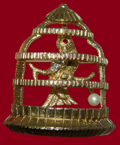 Rare Gold Brooch Pin Bird in Cage, rhinestones, pearl, marked Jeanne