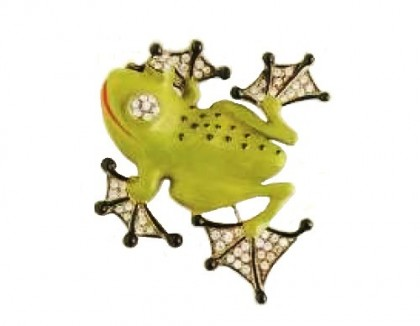 Rare brooch in the form of a frog. colored enamels on lead, transparent crystal. 1927