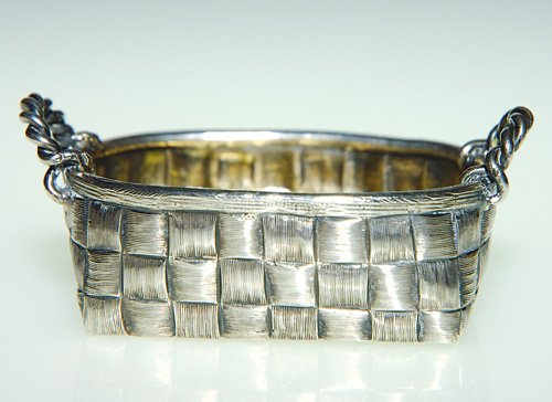 Russian Silver Trompe-l'oeil bread basket, Moscow 1886. Chased to imitate basketweave