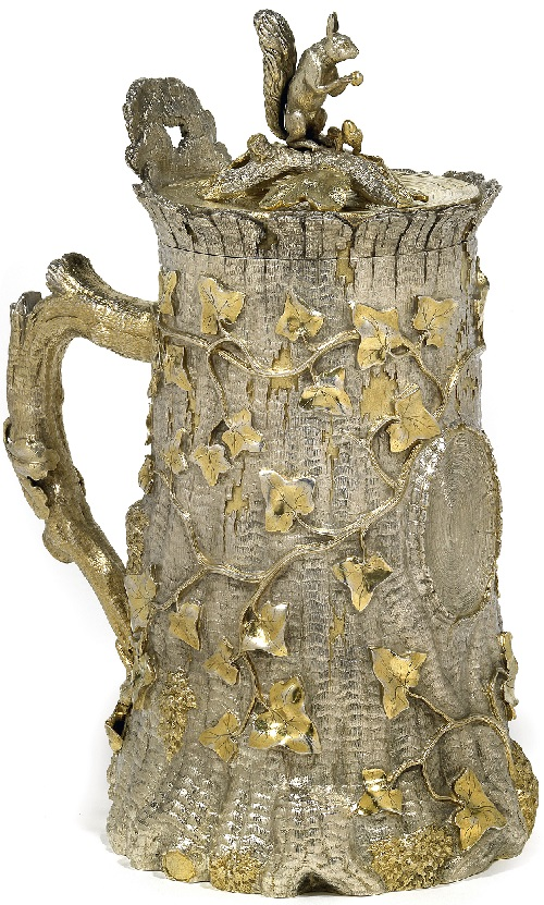 Russian Silver Trompe-l'oeil lidded tankard, St. Petersburg, marked Sasikow