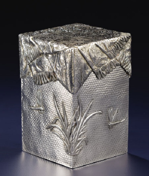 Russian silver trompe l'oeil box with cover. Pavel Akimov Ovchinnikov, circa 1900