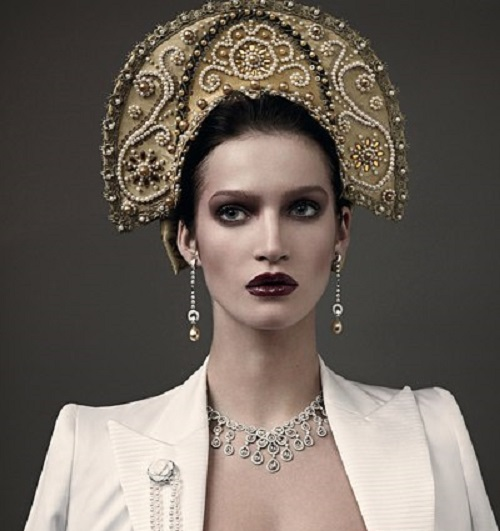 Russian style pearl decorations Vogue