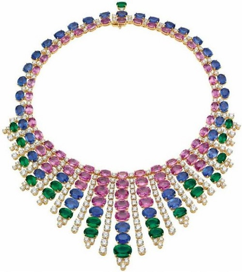 Necklace from the Bvlgari. Gold, diamonds, sapphires, emeralds