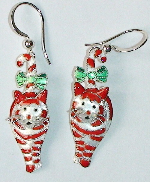Silver earrings 'Cat with bow', silver, enamel