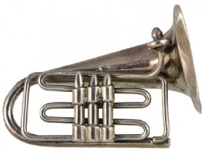 Silver vintage brooch musical instrument Tuba from the collection of brooches of Madeleine Albright