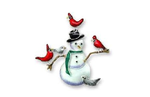 Snowman and Red Cardinals Silver Pendant