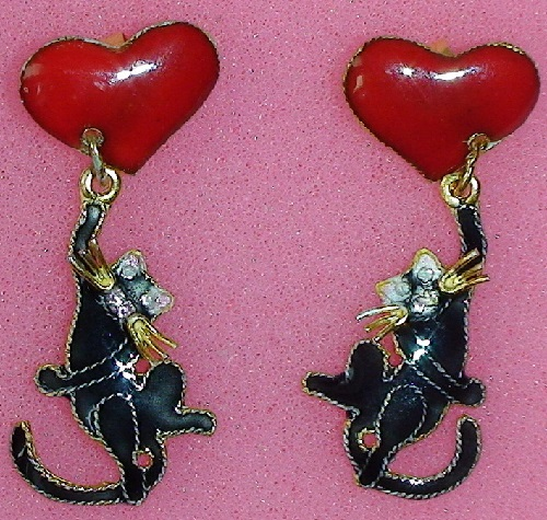 Stud earrings 'Black cat on Hearts' silver, enamel