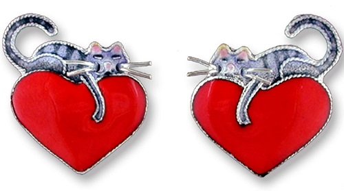 Stud earrings Cat on Heart silver, enamel