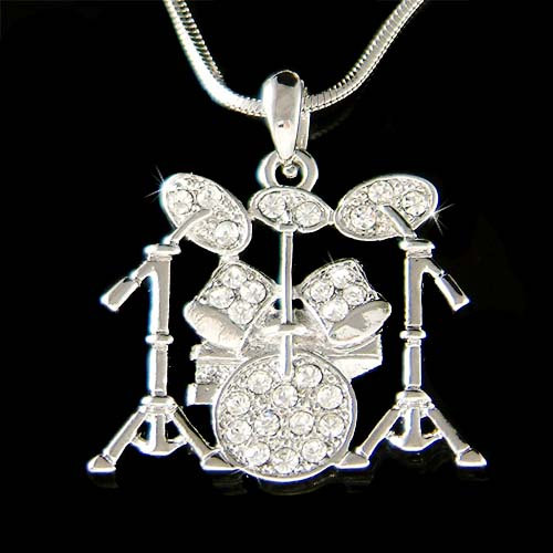 Swarovski Crystal Jazz Drum Set Cymbals pendant