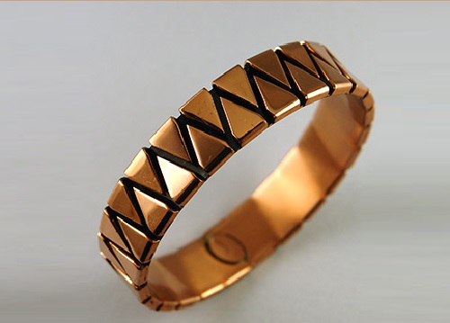 The Renoir bracelet of copper, geometric decor