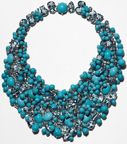 Turquoise necklace - plastron from Tiffany & Co collection. Gold, turquoise, aquamarine and diamonds. Oscar 2015