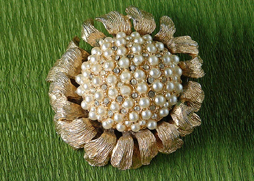 Vintage brooch in the form of a stylized sunflower. Jewellery alloy, rhinestones, cultured pearls. Brooch marked - HAR, 1955-1968